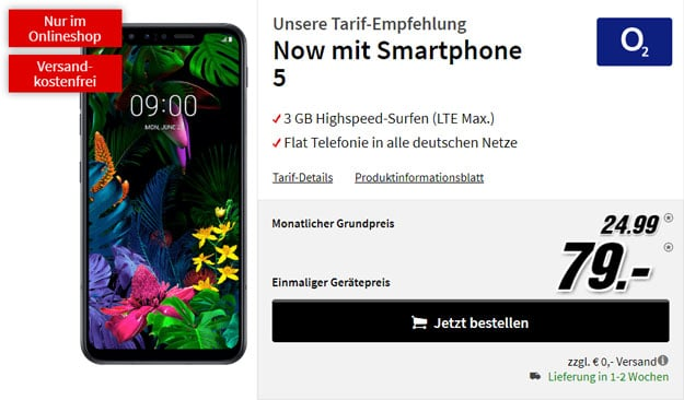 LG G8s ThinQ + o2 Now bei MediaMarkt
