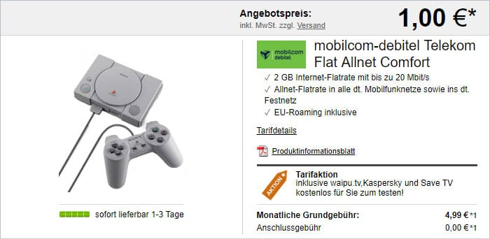 mobilcom-debitel Flat Allnet Comfort (Telekom-Netz) mit Sony Playstation Classic bei LogiTel