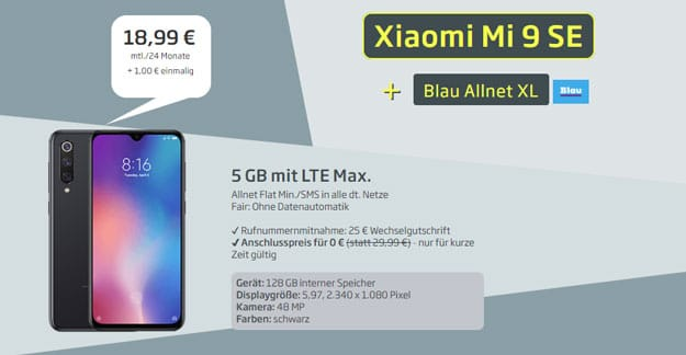 Xiaomi Mi 9 SE + Blau Allnet XL