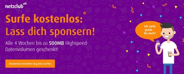 Netzclub 500 MB LTE Datenvolumen gratis, kostenlos abstauben