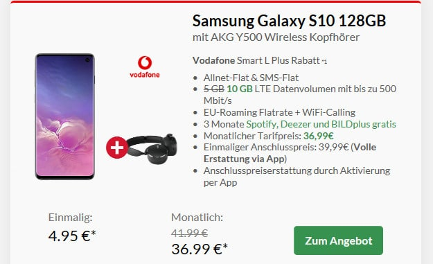 samsung galaxy s10 + akg y500 headset + vodafone smart l plus