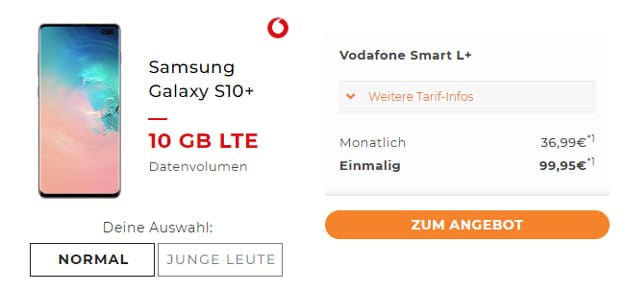 samsung Galaxy S10 Plus mit Vodafone Smart L Plus