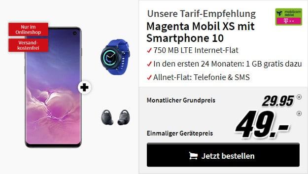 Samsung Galaxy S10 + Samsung Gear Sport + Samsung Gear IconX 2018 + mobilcom-debitel Magenta Mobil XS (Telekom-Netz)
