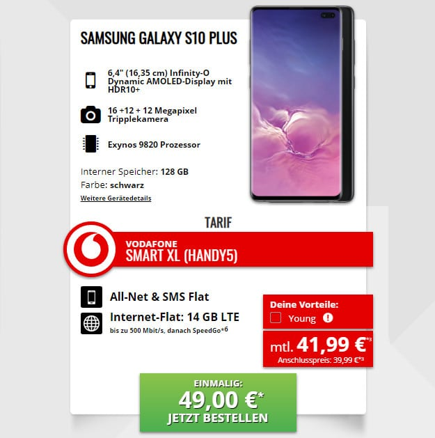 samsung galaxy s10 plus smart xl vodafone