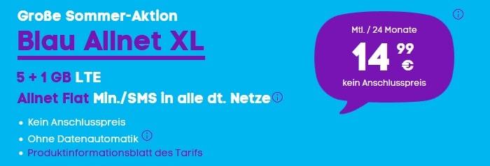 Blau Allnet XL 6 GB Sommeraktion