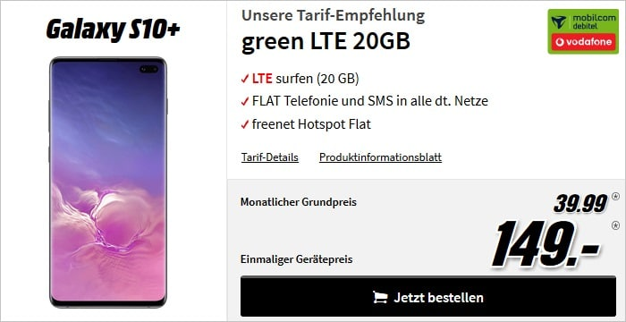 Galaxy S10 Plus 128GB + green LTE Vodafone 20 GB