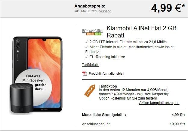 Klarmobil Allnet Flat Rabatt mit Huawei Y7