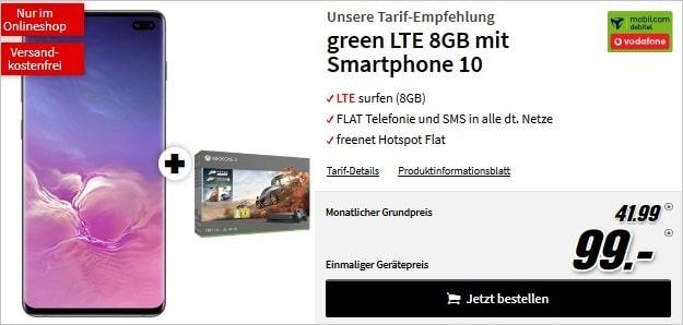 samsung galaxy s10 plus + xbox one x forza 7 bundle + mobilcom-debitel green lte (vodafone-netz) bei mediamarkt