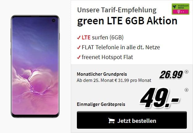 Samsung Galaxy S10 mobilcom-debitel green lte telekom-netz