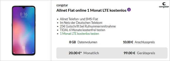 Xiaomi Mi 9 128GB + congstar Allnet Flat