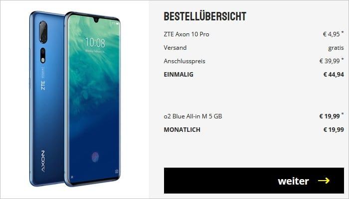 ZTE Axon 10 Pro mit o2 Blue all in m 5 GB