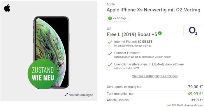 Apple iPhone Xs neuwertig + o2 Free L Boost bei Deinhandy