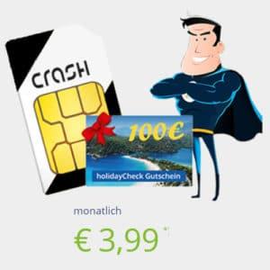 Top! CRASH-Aktion: klarmobil Smartphone Flat 1000 im besten Telekom-Netz für 3,99 € im Monat (100 min, 1 GB) - 100 € Reisegutschein