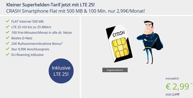 CRASH Smartphone Flat 500 LTE (Telekom-Netz) bei Vitrado