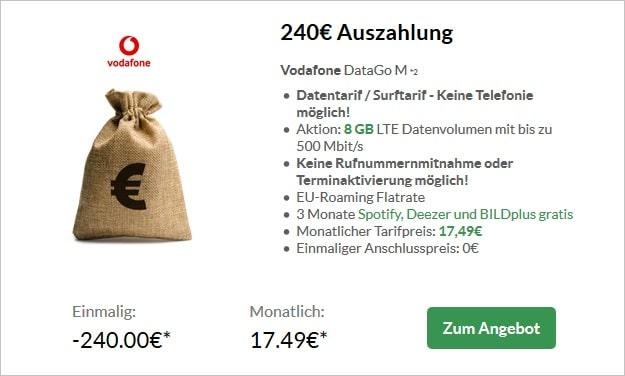 Vodafone DataGo M mit 240 € Cashback bei Preisboerse24