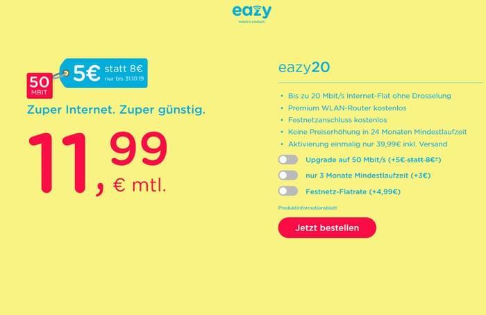 eazy Kabel-Internet-Flat mit Rabatt für 50 MBit/s