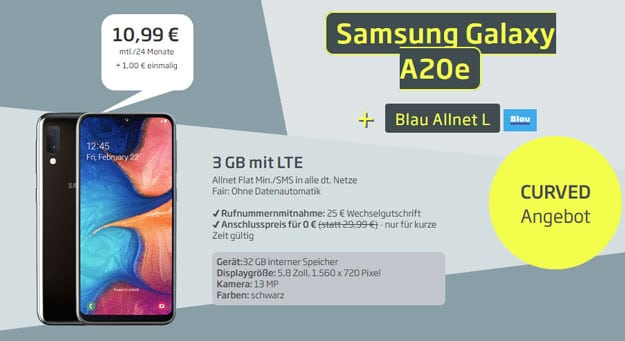 Samsung Galaxy A20e + Blau Allnet L