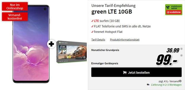 Samsung Galaxy S10 + Xbox One X Forza7-Bundle + mobilcom-debitel green LTE (Vodafone-Netz) bei MediaMarkt
