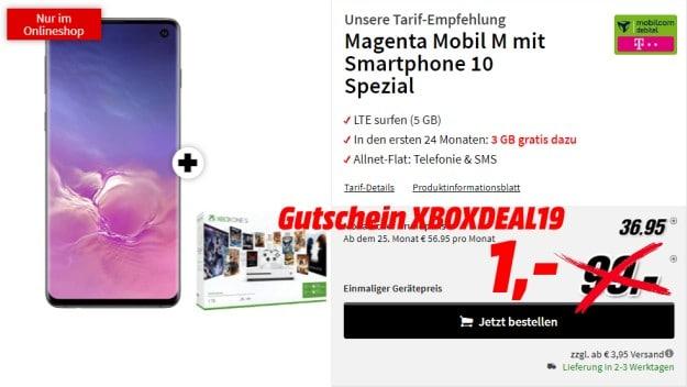 Samsung Galaxy S10 + Microsoft Xbox One S (1TB) Starter Bundle + mobilcom-debitel Magenta Mobil M (Telekom-Netz)