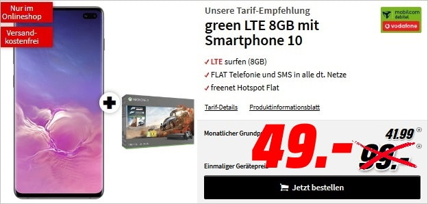 Samsung Galaxy S10 Plus + Xbox One X Forza7 Motorsport + mobilcom-debitel green LTE (Vodafone-Netz) bei MediaMarkt
