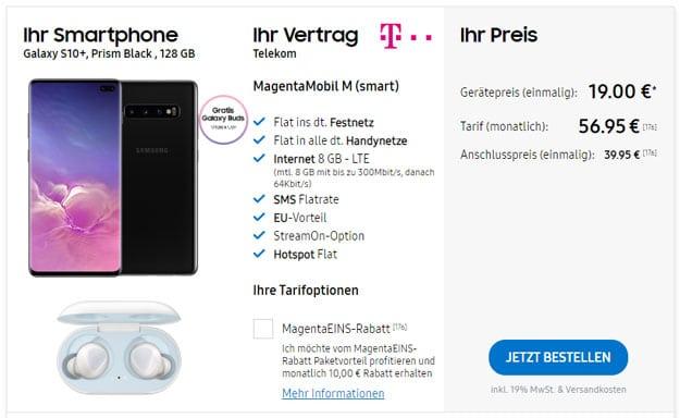 Samsung Galaxy S10 Plus + Samsung Galaxy Buds + Telekom Magenta Mobil M im Samsung Online-Shop