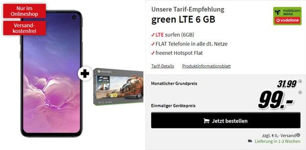 Samsung Galaxy S10e + Xbox One X (1TB) Forza7-Bundle + mobilcom-debitel green LTE (Vodafone-Netz) bei MediaMarkt