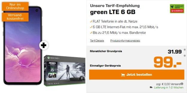 Samsung Galaxy S10e + Xbox One X (1TB) Metro-Saga-Bundle + mobilcom-debitel green LTE (Vodafone-Netz) bei Saturn