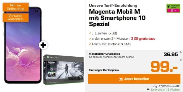 Samsung Galaxy S10e + Xbox One X Metro-Saga-Bundle + mobilcom-debitel Magenta Mobil M (Telekom-Netz) bei Saturn