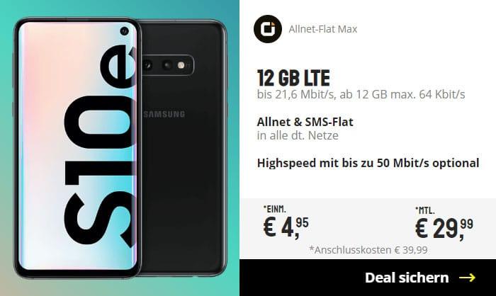 Samsung Galaxy S10e + otelo Allnet-Flat Max LTE bei Sparhandy