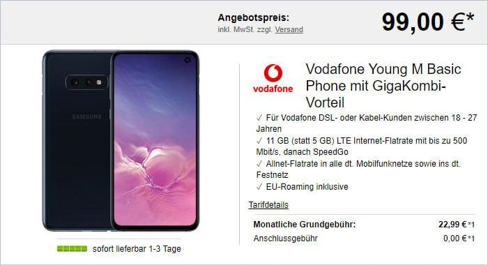 Samsung Galaxy S10e + Vodafone Young M GigaKombi bei LogiTel