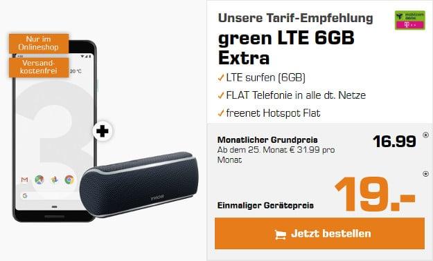 google pixel 3 + sony srs-xb21 lautsprecher + mobilcom-debitel green lte telekom-netz