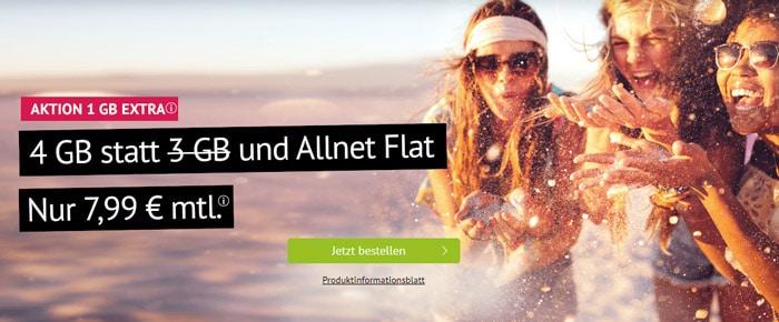handyvertrag.de Allnet-Flat mit 4 GB LTE Datenvolumen mit 7,99 € Grundgebühr