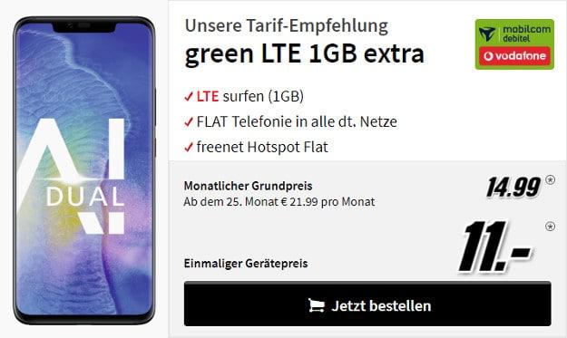 huawei mate 20 pro + mobilcom-debitel green lte 1 gb vodafone-netz