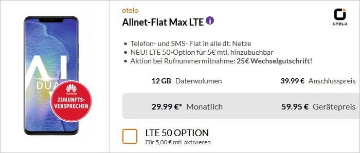 huawei mate 20 pro + otelo allnet flat max lte