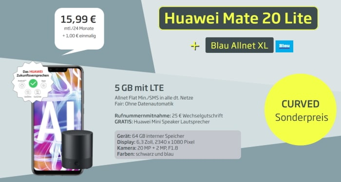 Huawei Mate 20 lite Blau Allnet XL 5 GB Flat Mini Speaker