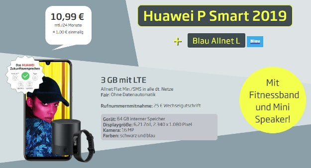 huawei p smart (2019) + huawei mini speaker + huawei band 3e + blau allnet l