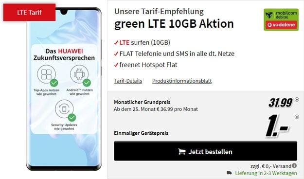 Huawei P30 Pro + mobilcom-debitel green LTE (Vodafone-Netz) bei MediaMarkt