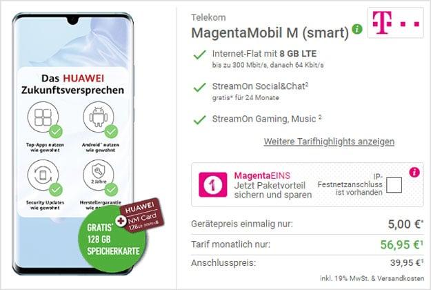 Huawei P30 Pro + 128GB Huawei Nano Memory Card + Telekom Magenta Mobil M bei DeinHandy
