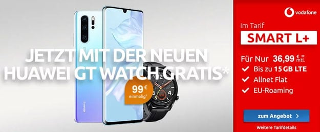 Huawei P30 Pro + Huawei Watch GT Sport Edition + Vodafone Smart L Plus bei LogiTel
