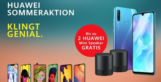 Huawei Sommeraktion: Bis zu 2 gratis Huawei Mini Speaker zum Huawei P30 lite, Huawei Mate 20 lite, Huawei P20 lite, Huawei P smart 2019 & mehr