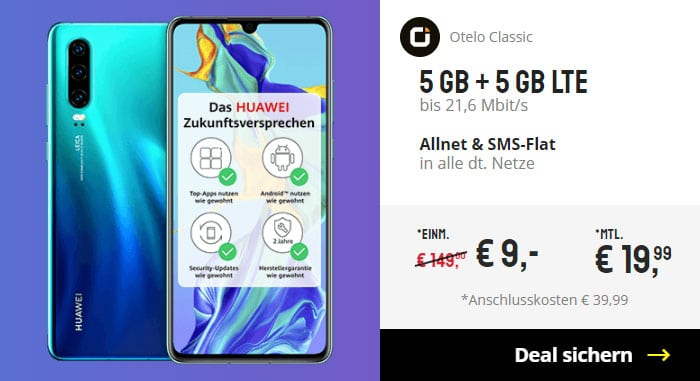Huawei P30 + otelo Allnet Flat Classic bei Sparhandy