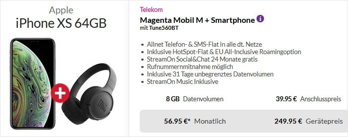 iPhone Xs + Telekom Magenta Mobil M mit jbl tune