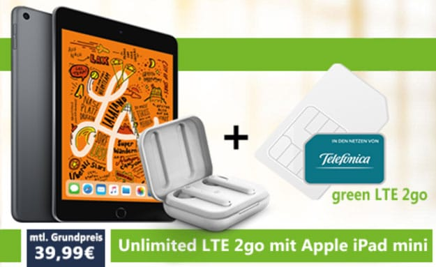 Apple iPad Mini 5 LTE + Urbanista Stockholm + mobilcom-debitel green LTE 2go (Telefónica-Netz) bei Vitrado