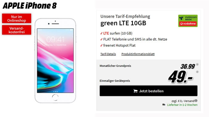 Apple iPhone 8 mit Allnet-Flat im Vodafone-Netz und bis zu 20 GB LTE