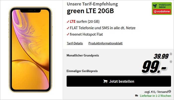 iphone xr 256gb + green lte vodafone 20 gb