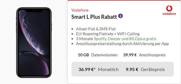 iphone xr (64gb, schwarz) + smart l plus vodafone