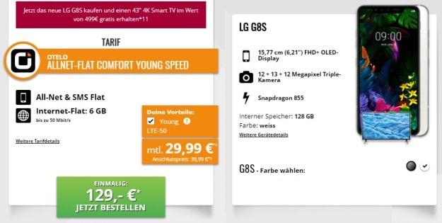 LG G8s ThinQ + otelo Allnet-Flat Comfort LTE bei Tophandy