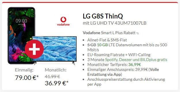 LG G8s ThinQ + LG 4K Smart TV + Vodafone Smart L Plus bei Preisboerse24