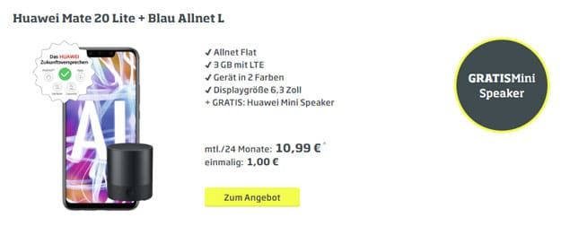 Huawei Mate 20 lite + 2x Huawei Mini Speaker CM510 + Blau Allnet L bei CURVED