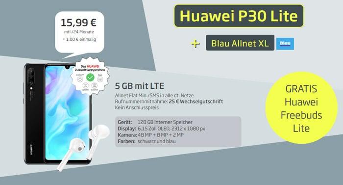 Huawei P30 lite mit Allnet-Flat samt 5 GB LTE im o2-Netz